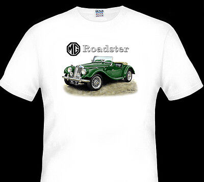 Mg  Tf  Roadster  Sports Car   White T-Shirt   S  M L  Xl Xxl  Xxxl  4Xl  5Xl