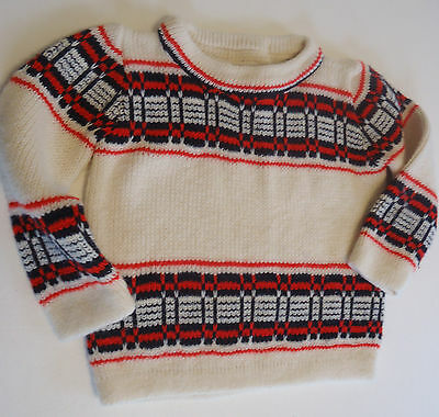 Vtg 70s BOY'S SWEATER Classic Ski Style Blue Cream Red HOLIDAY Child 2T-3T Retro