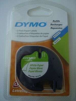 "NEW 2 Pack DYMO 10697 White Paper Labels LetraTag 1/2"" X 13'"