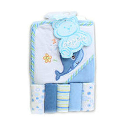 6pc LITTLE MIMOS BABY BOY TERRY BATH HOODED TOWEL + WASHCLOTHS - Whale Blue NEW