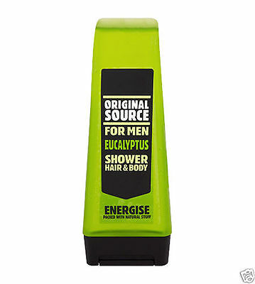 2x Original Source For Men Eucalyptus Shower Gel Hair & Body Wash Energise 250ml