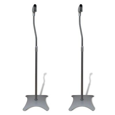 # New 2pc Universal Monitor Speaker Stand Studio Steel Portable Silver Adjustabl