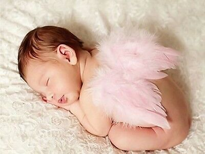 Newborn Baby Girls Pink Angel Wings Costume Photo Photography Prop Outfits