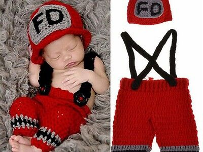 Newborn Infant Baby Fire Department Red or Brown Photography Set Outfit Prop