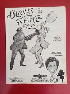 "Vintage Sheet Music """"BLACK AND WHITE RAG"""