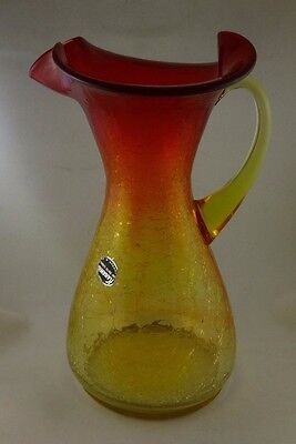 Vintage Kanawha Amberina Crackle Glass Pitcher Vase Hand Blown Art Glass