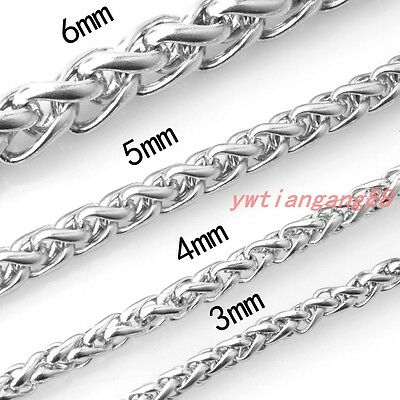 3/4/5/6/7MM Silver Women Men Chain Stainless Steel Wheat Braided Link Necklace