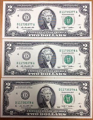 Three of 2009 USA $2 Two Dollar Paper Money Bank Note - No Tax