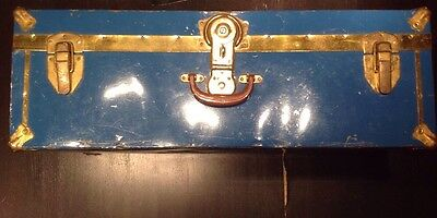 Antique Metal Steamer Trunk Steampunk Foot Locker Vintage Travel Chest Blue