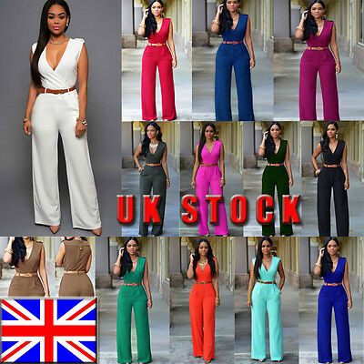 UK Women Clubwear Playsuit Sleeveless Bodycon Party Jumpsuit&Romper Trousers
