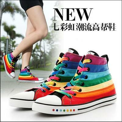 Women's Sports Sneakers Shoes High Top Rainbow Canvas Lace Up Trainers Casual