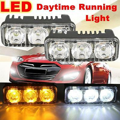 2x 6 LED Car SUV White DRL & Amber Turn Signal Daytime Driving Running Light 12V