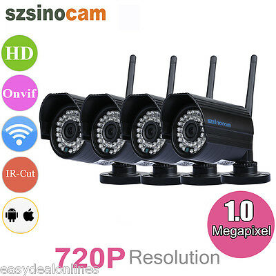 4X 720P CCTV IP Cámara Wireleess 1MP WiFi Waterproof IR-CUT Seguridad Vigilancia