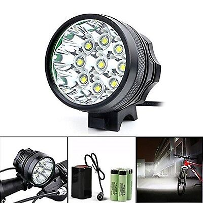 Headlamp 10000 Lumens Xjp 9 LEDs Headlight Bicycle with 18650 Battery Pack Li...