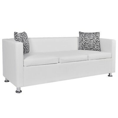 # White Leather Sofa Bed 3 Seater Lounge Suite Couch Chaise Armrest w/ 2 Pillow