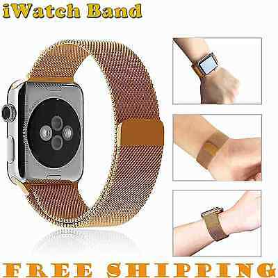 38mm Gold Magnetic Milanese Stainless Steel iWatch Strap Band for Apple Watch