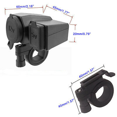 12V/24V Motorcycle Cigarette Lighter Waterproof Power Twin Dual USB Port Socket