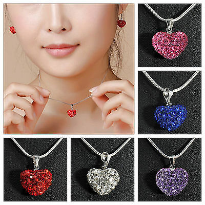 Heart Silver Plated Charm Crystal Necklace Jewellery Pendant Chain Love Gift UK