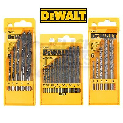 DeWALT DT5912 HSS Metal DT4535 Wood & DT6952 Masonary Drill Bits - SET OF 3