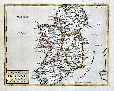 IRELAND, John Senex original antique hand coloured map 1741