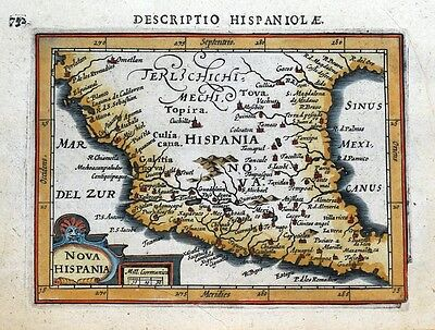 NOVA HISPANIA, MEXICO, TEXAS, P.BERTIUS original antique miniature map 1618