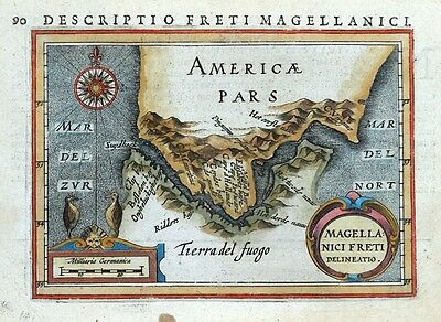 STRAIT OF MAGELLAN, SOUTH AMERICA, TIERRA DEL FUEGO, BERTIUS antique  map 1618