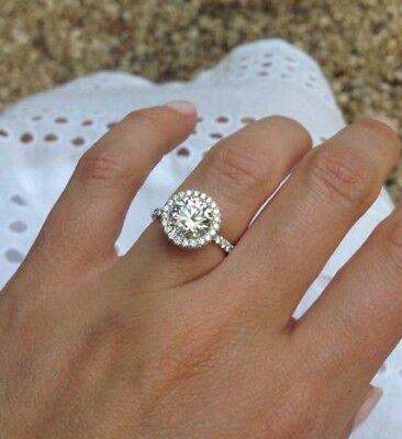 2ct Solitaire Engagement wedding Bridal Round Diamond Ring 925 Sterling Silver