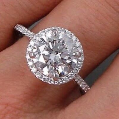 2ct Simulated Diamond Ring 925 Solid Sterling Silver Engagement