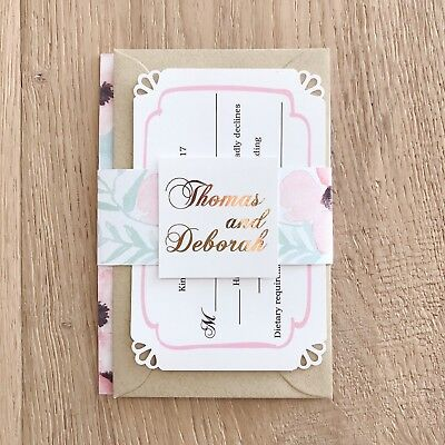 Wedding Invitations Set x50 with real foil