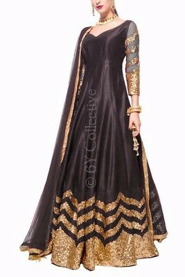 Indian Designer Lehenga Pakistani Bridal Black Sparrow Choli Wedding Party Wear