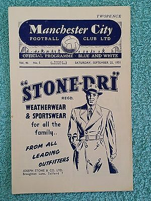 1951 - MANCHESTER CITY v ARSENAL PROGRAMME - FIRST DIVISION