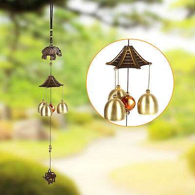 Vintage Elephant Metal Wind Chimes Antirust Bells Hanging Style Decor Window
