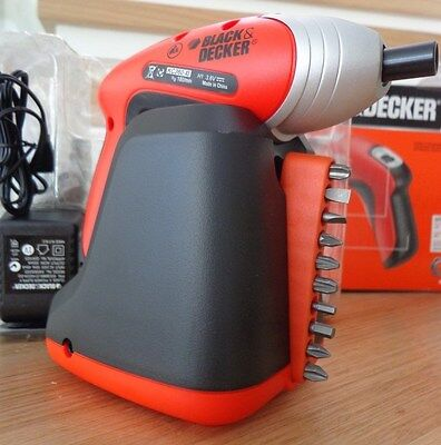 New Black & Decker Compact Cordless Screwdiver, Battery, Plus 30 Bits,kc360Bl-Xe