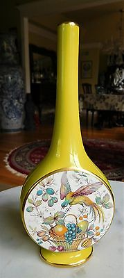 Carlton Ware Pencil Neck Vase Chartreuse in Color with Birds & Fruits Numbered