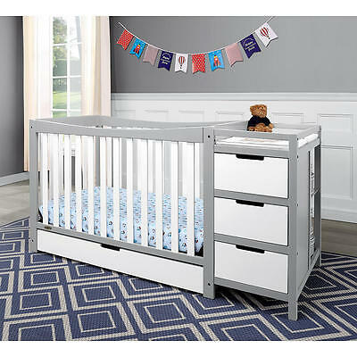Graco Remi 4-in-1 Convertible Crib and Changer - Pebble Gray and White