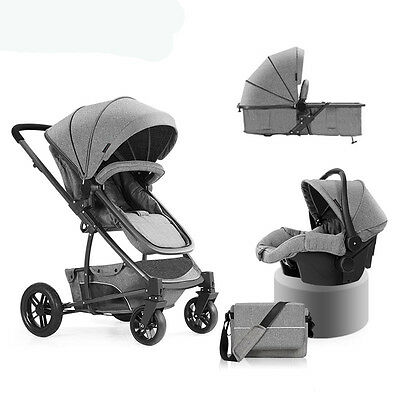 New Baby Stroller 3 in 1 High view travel system Pram folding pushchair&Car Seat