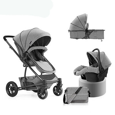 New Luxury Baby Stroller 3 in 1 High view travel Pram folding pushchair&Car Seat