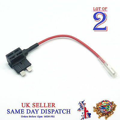 2x Add A Circuit Piggy Back Fuse Tap STANDARD Blade Holder 12V Car Boat Motor