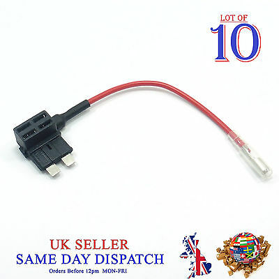 10x Add A Circuit Piggy Back Fuse Tap STANDARD Blade Holder 12V Car Boat Motor