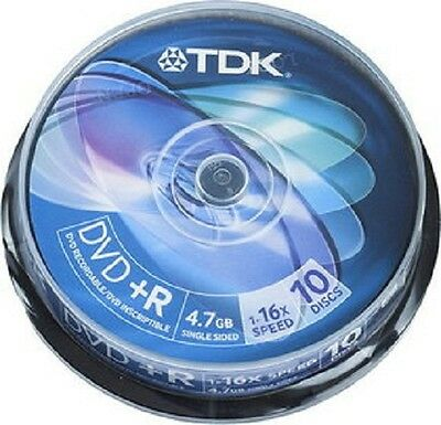 TDK DVD+R 4.7GB 120 min 1-16 X Blank Recordable Discs 10 Pack Jewel Case  Y12