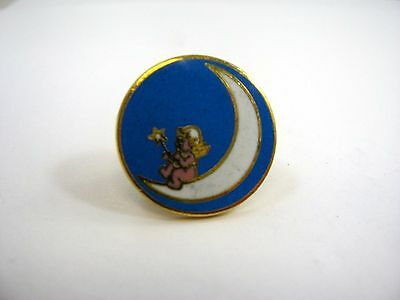 Vintage Collectible Pin: Fairy on Moon Beautiful Blue Design
