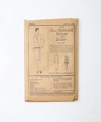 Vintage 1920's 20s Butterick dress Pattern flapper DECO drop waist New York USA
