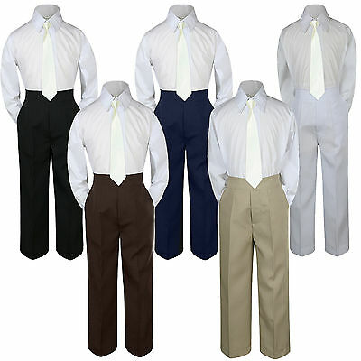 d4fd6794f 3pc Boy Suit Set Ivory Off White Necktie Baby Toddler Kid Formal Shirt Pants  S-