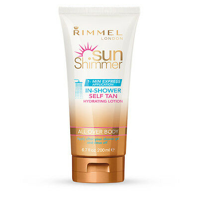 Rimmel Sun Shimmer  In - Shower Self Tan All Over Body Hydrating Lotion 200ml