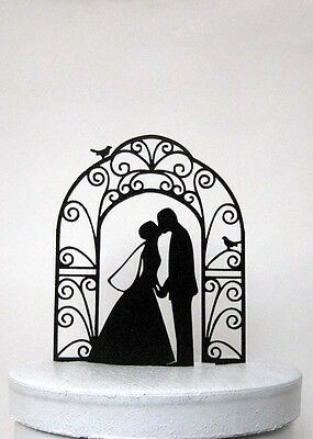 Wedding Cake Topper - Bride and Groom Wedding silhouette with wedding arch