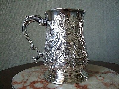 EARLY GEORGE III SILVER EMBOSSED BALUSTER TANKARD FRANCIS CRUMP 1769 LONDON 233g