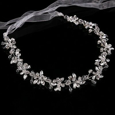 Wedding Bridal Crystal Diamante Headband Ribbon Flower Tiara Hair Accessory