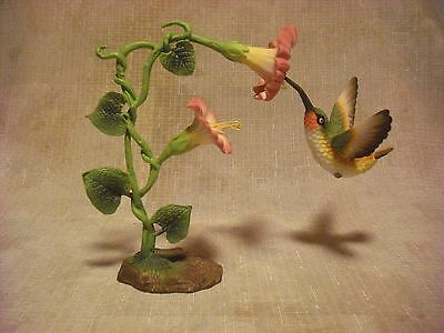 Porcelain Hummingbird Figurine with Morning Glory Vine