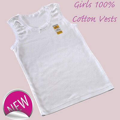 12 Girls  100% SOFT COTTON VESTS 2 3 4 5 6 7 8 9 10 11 12 13 YRS