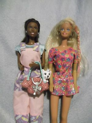 African American Barbie & friend in Mattel clothes  earrings with shoes purse